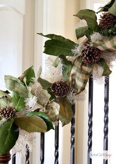 Christmas Garland Ideas Staircase | Atta Girl Says 2013 Christmas Home Tour & Holiday Decorating Ideas