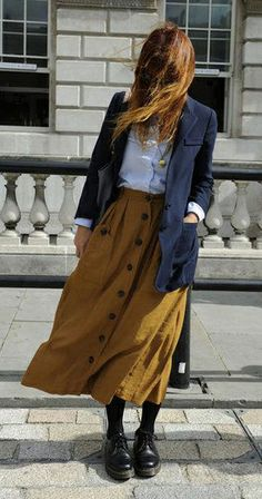 very pretty. shorter skirt, just below knee perhaps. love the combo of colors and textures, too. Great style.