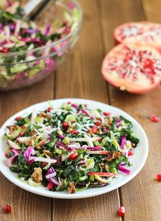 The Ultimate Fall Salad: a combination of fall's best produce tossed in an apple cider vinaigrette! #glutenfree #vegan #detox #kale   Making Thyme for Health