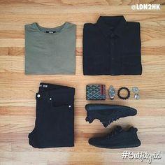 August 25th's top #outfitgrid is by @ldn2hk. ▫️#Stampd #Shirt ▫️#Favela #Tee ▫️#Blkdnm #Denim ▫️#Kanye x #Adidas #flatlay #flatlayapp #flatlays