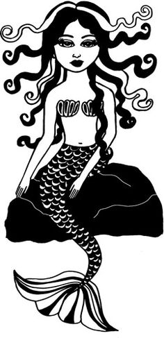 "Original Mermaid Girl Art illustration Digital Image Download graphics printables image size is 8.5."" x 17.5"" inches"
