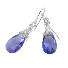 #Amethyst Crystal Earrings, silver dangle Swarovski earrings #purple #dangle #earrings