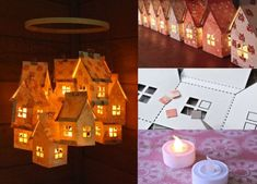 House luminaries/mobile made with cardboard, paper and battery operated tea lights