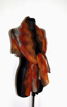 Wool Shawl Hand Knit Scarf in Autumn Colors by aboutCRAFTS on Etsy