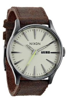 Nixon \'The Sentry\' Leather Strap Watch, 42mm