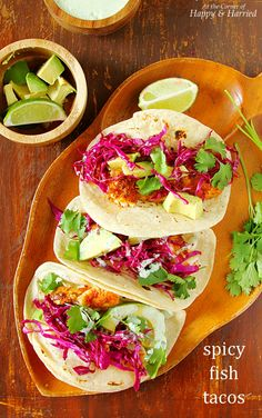 Make these spicy fish tacos topped with a quick red cabbage slaw and yogurt-cilantro crema for an amazing Tex-Mex dinner. Yay for taco nights, right?! Taco nights are always fun, spontaneous events…