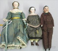 Three Bisque Shoulder Head Dollhouse Dolls | Sale Number 2355, Lot Number 677 | Skinner Auctioneers