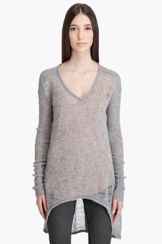 Helmut Lang, Uneven Stitch V-Neck #fashion #style