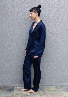 Now 50% Off Legion Blue Silk Pajama Pants