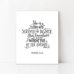 """""""She is clothed with strength and dignity. She laughs without fear of the future."""" -Proverbs 31:25 One of my favorite Proverbs quotes. This style is perfect for all ages!"""