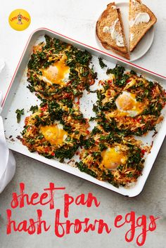 Brunch all on one pan. Hash browns, red peppers and kale topped with eggs are baked on a sheet pan—a whole meal and no mess.