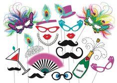 Masquerade Party Photo booth Props Set - 19 Piece PRINTABLE - Carnivale Party, Masquerade Masks