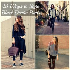 Outfits with Black Jeans-23 Ways to Style Black Denim Pants - http://www.2016hairstyleideas.com/beauty/outfits-with-black-jeans-23-ways-to-style-black-denim-pants.html