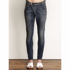 """R13 X-Over Jeans R13 blue denim X-Over jeans in size 24, will comfortably fit 24-26 depending how you wear it. Lightly worn, like new. 98% Cotton/2% Elastane. Measurements (taken laid flat): Waist - 14"""", Rise - 10"""", Inseam - 30.5"""". Made in Italy. Smoke-free environment. Questions welcome! R13 Jeans Skinny"""
