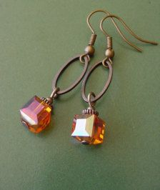 Items similar to Bonfire Style 1 // Orange Crystal Cube / Antique Copper Finish Dangle Earrings on E Wire Wrapped Jewelry, Wire Jewelry, Jewelry Crafts, Gold Jewelry, Beaded Jewelry, Jewelery, Jewelry Ideas, Jewelry Box, Initial Jewelry