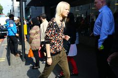 Dark Floral Top And Slouchy Pants.  London Fashion Week Spring 2015 #streetchic