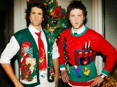 Hamish Blake and Andy Lee wearing some very nice Christmas attire, during their Very Early Christmas Special. Aussie Christmas, Christmas Shows, All Things Christmas, Holiday Sweater, Ugly Christmas Sweater, Comedy Duos, You Make Me Laugh, Christmas Jumpers, Comedians
