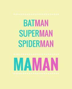 """Tous les super-héros ont un nom qui finit par """"man"""" : Batman, Superman… Spider M, Superman And Spiderman, Words Quotes, Sayings, Quote Citation, Some Words, Positive Attitude, Quotations, Funny Quotes"""