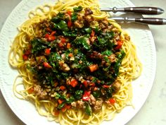 sausage, red peppers, swiss chard pasta - dinner in 20 minutes!