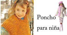 Poncho para nena tejido con palitos o dos agujas, muy fácil y abrigado. Paso a paso