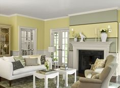 Traditional living room in yellow paint color scheme.