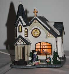 Christmas House Glass Windows Lighted Hand Painted Figurines Porcelain Cross NIB http://stores.ebay.com/The-Spicy-Senior?_rdc=1