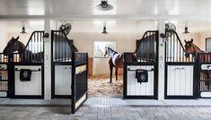 horses in their stalls Barn Stalls, Horse Stalls, Dream Stables, Dream Barn, White Barn, Luxury Horse Barns, Equestrian Stables, Horse Barn Designs, Horse Barn Plans