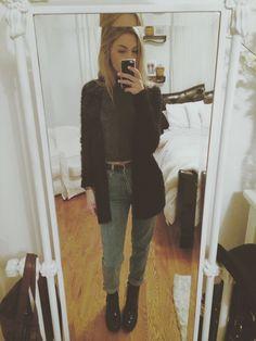 christie's closet black cardigan black top boyfriend jeans black boots