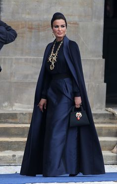 Sheikha Mozah bint Nasser Al Missned of Qatar departs the Nieuwe Kerk church after the inauguration ceremony in Amsterdam.  (April 30, 2013 - Source: PacificCoastNews.com)