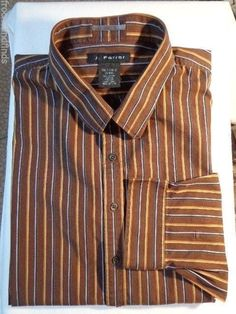 SOLD!! Big & Tall: Receive two striped J Ferrar Long sleeve cotton button front shirts in a size 3X LT for one price!- Free Shipping. 1 Black / 1 Brown with multi colored stripes  #JFerrar