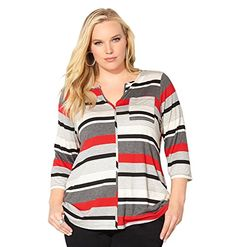 a338b5d258dfe AVENUE Women s Seamed Variegated Stripe Top