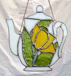 Stained Glass White Yellow and Green Teapot by JuliaLouiseShop, $22.00