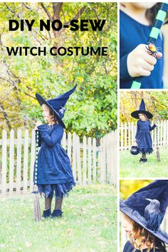 do it yourself divas: DIY No-Sew Witch Costume. Reusable clothes so you can wear it throughout the year. Free costume idea, cheap costume idea using things around the house. Little girl costume - black dress, black hat, for a reusable witch costume. Little Girl Witch Costume, Toddler Witch Costumes, Witches Costumes For Women, Diy Girls Costumes, Cute Couple Halloween Costumes, Toddler Girl Halloween, Halloween 2020, Cute Witch Costume, Halloween Ideas