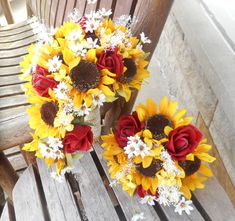 Sunflower Cascading Silk Bridal Bouquet with Real by mtfloral