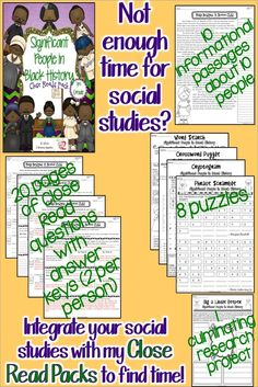 Short on time? Integrate reading and social studies with this line of products! My Close Read Packs will help you find time the day. Included are 10 informational passages about 10 significant people, all in the 3rd grade band. 2 pages of Close Read questions PER person with answer keys! That's 20 pages of questions! You will also get 8 puzzles and one culminating project. Coming soon for for grades 4 and 5. $