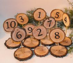 Wedding Table Numbers ~ Double Sided Table numbers ~ Wood Slice Table Numbers ~ Woodland Weddings ~ Reunions ~ Party Table Number ~ Meetings