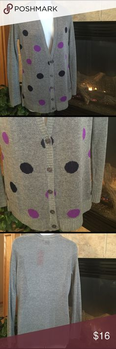 Cardigan by Oh MG! NWT Super cute, longer in length and brand new with tags.  Colors are gray, navy blue and purple.  Would look great paired with your favorite jeans or leggings and boots!  Great for all seasons due to its light weight - gotta' love that! 😉  Size: Large. Oh MG! Sweaters Cardigans