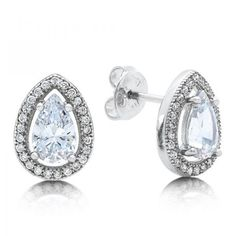 Ladies Simulated Diamonds Sterling Silver Bonded With Platinum Pear Shape Stud Earrings  #diamonds #tungsten #simulateddiamonds #eversmartweddings #swarovski #eversmartjewelry #heavenculturejewelry #tungstenrings