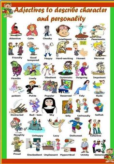 A different activity for the students learn adjectives related to character and personality. It has a picture dictionary on the first page (which can also be used as classroom poster or a st English Words, English Lessons, English Grammar, Teaching English, Learn English, English Language, English Class, Adjective Worksheet, Vocabulary Worksheets