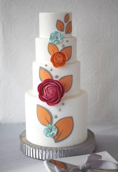 love these fun colors and the modern floral print fondant, gumpaste, modeling chocolate