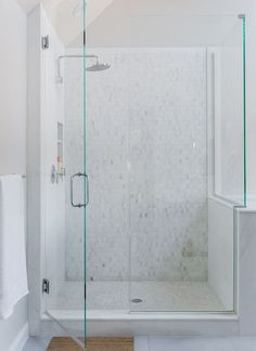 Master bath shower features mosaic marble shower surround, stacked shower niches and mosaic shower floor. Master Bath Shower, Shower Niche, Glass Shower, Master Bathroom, Shower Tiles, Bathroom Marble, Shower Door, New Interior Design, Contemporary Interior Design