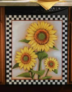 Country Yellow Sunflower Kitchen Dishwasher Magnet Magnetic Cover Decor picclick.com