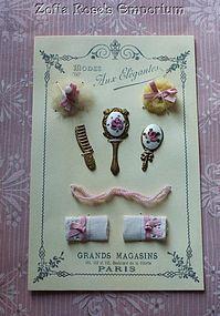 French Presentation Display Card ~ Artist Made ~ Powder Puff - Zofia Rose's Emporium #dollshopsunited