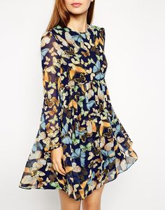 ASOS   ASOS Swing Dress in Butterfly Print with Long Sleeves at ASOS