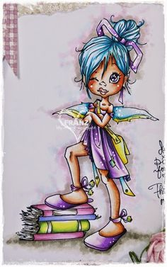 Franz-Blog: Saturated Canary Pixie Nerd♥ ~ Copics: Skin: E0000, E000, E00, E11, E13+R20 and Prismacolor Pencil for cheecks; Hair: BG000, BG01, BG02, B6; Wings and Ribbons: BG000, BG01, BG05, B6, Y11, Y000; Bag: Y000, Y11, Y15; Dress and Shoes: V000, V01, V04, V06, C9; Books: R81, R83, R85, BV000, BV01, BV02, BV13, YG69, YG60, YG03, YG00; Background: B0000, RV000, W1; Floor: W1, W3, W5.