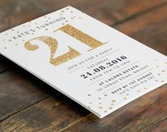 Printed Floral 21st Birthday Invitation 125 X 125mm