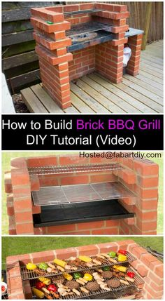 to Build Brick BBQ Grill DIY Tutorial VideoHow to Build Brick BBQ Grill DIY Tutorial Video New ideas for backyard bbq brick outdoor fireplaces Brick grill DIY - would love to build in stone Instead. Barbecue Grill, Diy Grill, Bbq Diy, Parrilla Exterior, Brick Grill, Brick Ovens, Built In Grill, Outdoor Kitchen Design, Outdoor Kitchens