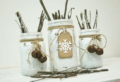 Holiday White Snowflake Christmas decor set of 3 Mason Jars, Christmas table decor, Christmas decorations, Holiday decorations by PineknobsAndCrickets on Etsy https://www.etsy.com/listing/207672927/holiday-white-snowflake-christmas-decor