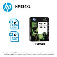 HP 934XL High Yield Black Ink Cartridges 2pk