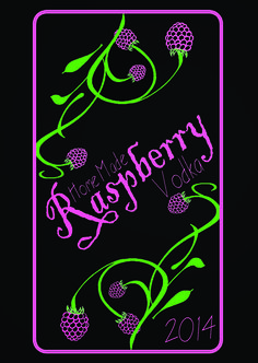 Raspberry Vodka Label by Abi Young - Graphic Designs https://www.facebook.com/AbiYoungGD2015